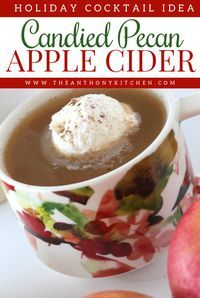 Holiday Cocktail | Candied Pecan Apple Cider | A festive cold weather apple cider spiked with rum and a sweet pecan liqueur | Spiked Apple Cider Recipe.