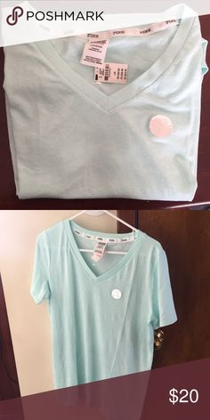 PINK Victoria's Secret V-Neck T-Shirt Brand New With Tag Color: Tiffany Blue Size: Large Style: V-Neck T-Shirt Short sleeve PINK Victoria's Secret Tops Tees - Short Sleeve