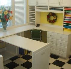 I like the idea of a pull out table to work on and push it back in when you are done.