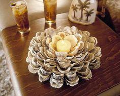 貝殻のテーブルセンターピースのアイデアや海のシェル工芸品