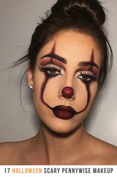 Are you looking for ideas for your Halloween make-up? Check out the post right here for unique Halloween makeup looks. Halloween Makeup Clown, Halloween Eyes, Disney Halloween, Easy Clown Makeup, Beautiful Halloween Makeup, Clown Face Makeup, Halloween Make Up Scary, Pennywise Halloween Costume, Half Face Makeup