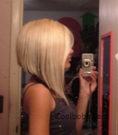 Long angled bob. Love the back! Not so much the length in the front.