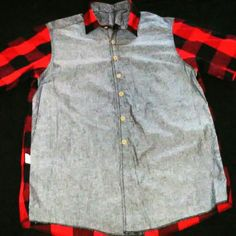 Short Sleeve Button Up Polo Chambray&Red/Blk Plaid