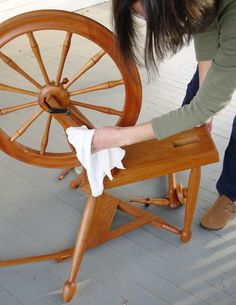 Spring clean your wheel with Lee Juvan! While you're in the cleaning mood I'd also suggest giving your wood niddy noddies, skeinwinders and other wooden fiber tools some TLC, too. I like and use Wood Beams polish by Goodies Unlimited.   Knitty Spring + Summer 2012