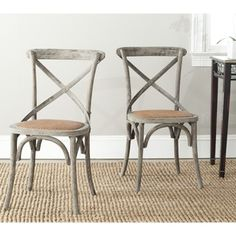 Safavieh Franklin X-back Distressed Colonial Walnut Oak Chairs (Set of 2)- for breakfast nook seating