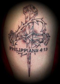 nail cross tattoo