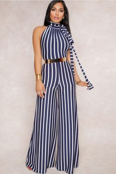 Dark-blue Backless Halter Wide Leg Stripe Sexy Jumpsuit @ Sexy Rompers And Jumpsuits For Women-Strapless Jumpsuit,Long Sleeve Jumpsuit Strapless Jumpsuit, Floral Jumpsuit, Denim Jumpsuit, Floral Romper, Black Jumpsuit, Blue And White Outfits, Chic Couture Online, Donia, Long Jumpsuits