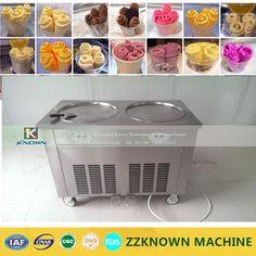 2 pan Ice cream fryer roller machine computer control pan roller Ice Cream Roller rolling Rolled Flat fried ice cream machine