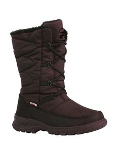 Waterproof Nylon Upper DriDefense Waterproof Bootie Construction Waterproof Gusset Tongue Fixed Foam and Fleece Insulation Moisture Wicking Boa Lining Rustproof D-Ring Lacing System Removable Kamik Comfort EVA Insole With Boa Lining Kamik's CITY Synthetic Rubber Outsole Comfort rated to-40° C Height: 12 In. / Weight 2 lbs per pair