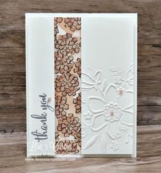 Video tutorial! Create the illusion of a fancy fold using the split panel technique. This card uses the Lovely Floral embossing folder as the focal point along a panel of shimmery specialty cardstock. Artisan pearls provide the perfect touches for this simple and clean card. Stampin' Up! Share What You Love promotion.