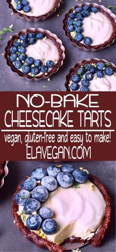 Vegan cheesecake tarts, which are easy to make. The recipe is gluten-free, refined sugar-free, nut-free, plant-based and there is no baking required. These cheesecake tarts are ready in no time. Great dessert which tastes delicious. Best Vegan Desserts, Best Vegan Recipes, Vegan Dessert Recipes, Dairy Free Recipes, Baking Recipes, Delicious Desserts, Vegan Sweets, Vegan Snacks, Healthy Treats
