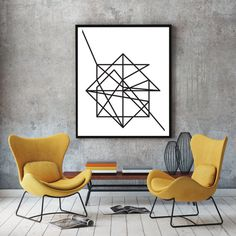 Wire, black & white abstract geometric art poster, contemporary modern minimalist print, nordic design, wall decor, room decor, A0 poster