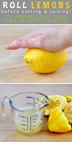 Roll and apply pressure to citrus fruits to get more juice! From @Beki Cook's Cakes #cookingtips