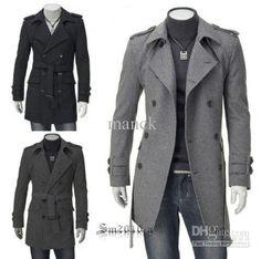 Wholesale Fashion Slim Fit Men Casual trench coat Mens Long Winter Coats Mens Wool MS136, $36.0-46.0/Piece | DHgate