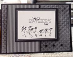 Masculine birthday/Father's Day card. All products from Stampin' Up apart from the black brads. Image from Wetlands stamp set. Sentiment from Delightful Dozen. Basic black ink and cardstock, whisper white cardstock and basic grey designer series paper. Square lattice embossing folder.