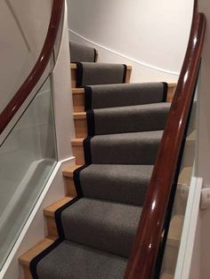 Client: Private Residence In North London Brief: To supply & install grey stair carpet with black border to stairs Grey Stair Carpet, Carpet Stairs, Stairway Lighting, Carpet Runner, Stairways, Flooring, North London, Runners, Carpet Installation