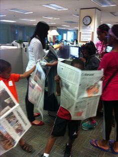 We were able to tour the Courier-Journal! 6/29/16 Future journalist in the making!