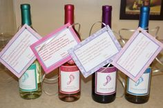 Baby shower hostess gift -barefoot wine with a cute little saying makes for happy hostesses!