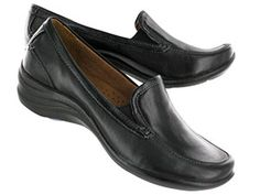 Hush Puppies Womens EPIC LOAFER black leather slip-on shoes