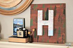 DIY Project - Summer Vacation Monogram & Mantel