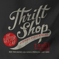 "What's the best, easiest, and fastest way to add cracked ""Plastisol Ink"" textures and make your graphics look like they are printed on a Vintage Thrift Shop T-Shirt?? - Use the ""THRIFT SHOP"" Vintage Screenprint Template!"