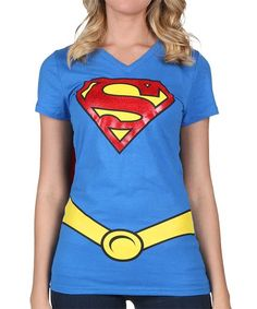 Blue & Red Supergirl Cape Tee - Girls