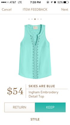 Skies Are Blue Ingham Embroidery Detail Top