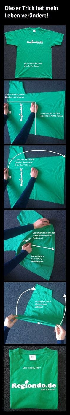 T-Shirt zusammenlegen – einfach und schnell! Folding your T-Shirt the Easy Way! … – Bildung /Tipps - To Have a Nice Day Genius Ideas, E Mc2, Getting Organized, Clean House, Cleaning Hacks, Helpful Hints, Life Hacks, Diy And Crafts, How To Make