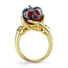 Wedding Ruby Engagement Ring Set Two Tone Gold Engagement Rings Ruby Ring with Half Eternity Band - Fine Jewelry Ideas Disney Engagement Rings, Disney Wedding Rings, Disney Princess Rings, Disney Belle, Disney Disney, Film Disney, Disney Frozen, Apple Rings, Poison Apples