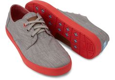 Chambray Grey and Red Pop Men's Paseos | TOMS....$59