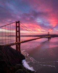 Sunrise over the Golden Gate Bridge, San Francisco