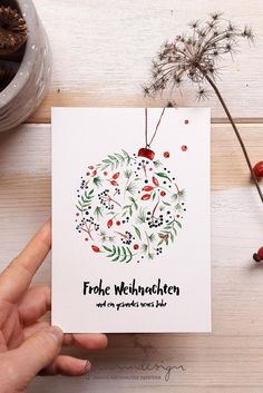Watercolor Christmas Cards, Christmas Card Crafts, Homemade Christmas Cards, Christmas Drawing, Christmas Paintings, Xmas Cards, Christmas Art, Diy Cards, Homemade Cards