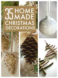 35 of the BEST DIY homemade Christmas decorations to make We've had lots of fun this week making our first Christmas cards and this weekend we're going to start on Christmas decorations. My daughter …… First Christmas, Rustic Christmas, All Things Christmas, Winter Christmas, Christmas Holidays, Christmas Projects, Holiday Crafts, Holiday Ideas, Homemade Christmas Decorations