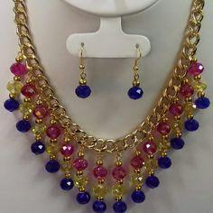 Rosa y azul Bead Jewellery, Bead Earrings, Pearl Jewelry, Jewelery, Cute Jewelry, Jewelry Crafts, Jewelry Sets, Handmade Jewelry, Beaded Jewelry Patterns