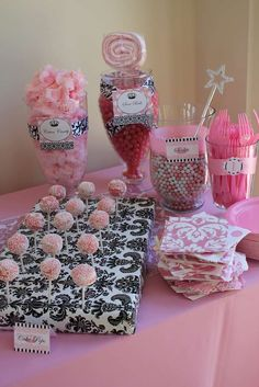 Vintage crown w/ pink damask, feathers & black & white Birthday Party Ideas   Photo 4 of 141   Catch My Party