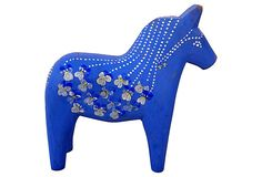 Blue Swedish Dala Horse on OneKingsLane.com