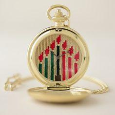 Kwanzaa Colors Candles Crochet Print Elegant Gold Pocket Watch - elegant gifts gift ideas custom presents