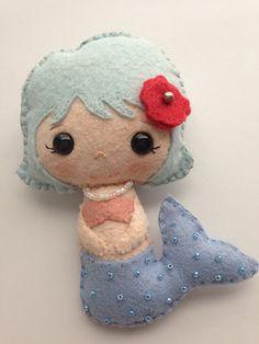beaded dolls patterns | Gingermelon Mermaid felt doll hand beaded by BirdIsTheWordDesign