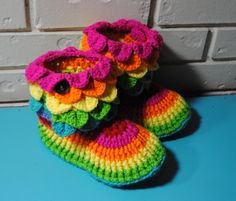 Womens Crochet Slippers, Slipper Boots, Womens Boots, House shoes, ladies slippers, crochet boots, womens booties, size 9-10 Womens Rainbow