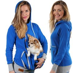 Roodie - Dog, Cat, Small Pet Carrier Hoodie - Women's Fit - Blue with Gray Trim >> Quickly view this special dog product, click the image : Dog carrier