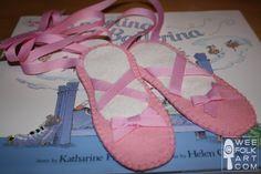 Ballet shoe bookmark tutorial from Wee Folk Art. Ballet Crafts, Dance Crafts, Ballerina Birthday, Little Ballerina, Nutcracker Crafts, Dance Teacher Gifts, Felt Bookmark, Bookmark Craft, Dance Camp