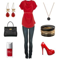 Red, created by #achristie on #polyvore. Love the top!
