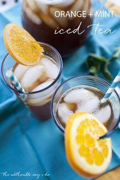 Homemade orange and mint iced tea recipe sweetened with Stevia!