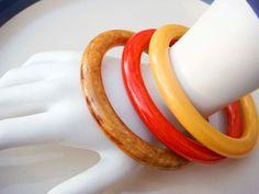 Vintage Lucite Bracelet Bangle Orange Yellow by PaganCellarJewelry, $22.99