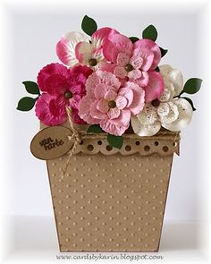 lots of flowers in pink shades. Judy Joyce · Flower pot cards & 245 Best Flower pot cards images in 2017 | Paper Flowers Planters ...