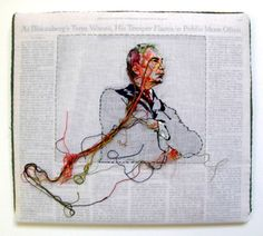 Lauren DiCioccio : Sewn News, Hand Embroidery on Cotton Muslin. New York Times, May 20, 2008