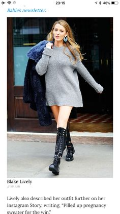526e49f8355 Blake Lively s Daughter Reacts to Her Mom s  Pregnancy  Sweater Dress   You  Forgot Your Pants!