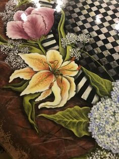 I painted my kitchen table, using acrylics, gold leaf and water based floor varnish on top. I'm a big fun of Machenzie Childs, so I  tried to create my own version of it. Except from painting the flowers, I also used shading to create the effect of depth, in the middle of the tabletop.