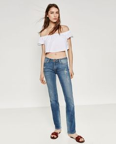 Image 1 of STRAIGHT LEG MID RISE JEANS from Zara