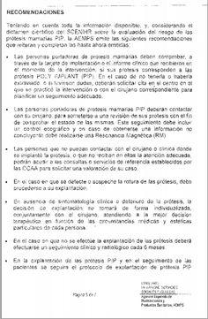 Recomendaciones prótesis mamarias  Completo en: http://www.grupomedicolegalbcn.com/es/seccion/articulos/